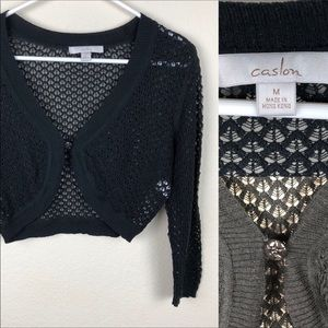 Caslon Black Lacy Shrug. One button closur…